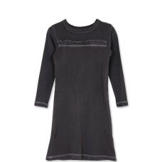 Girls grey tunic dress with ruffle trim - $29.99 Mignoneusa.com Perfect fall dress, great with a pair of leggings and boots.