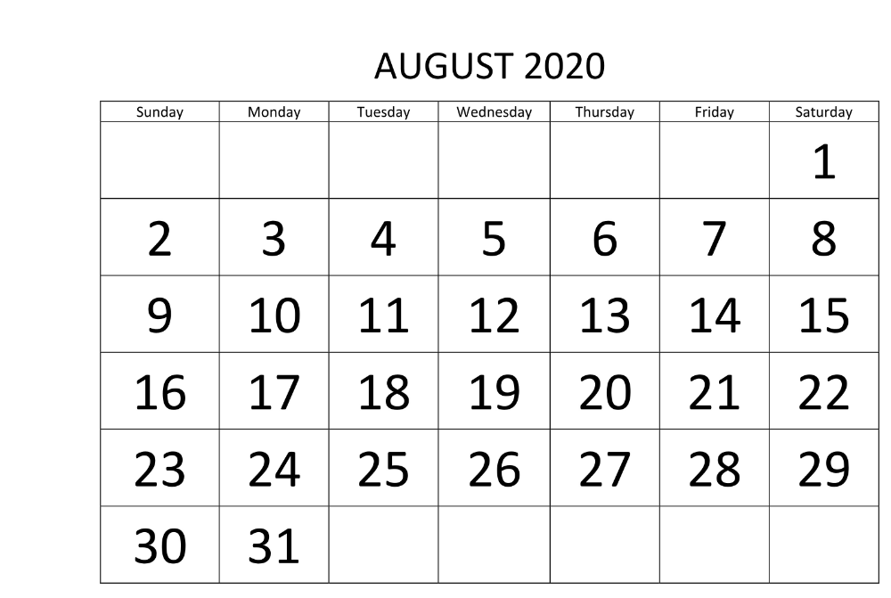 August 2020 Calendar With Excel Word Formats In 2020 Holiday Calendar Calendar Pdf Calendar