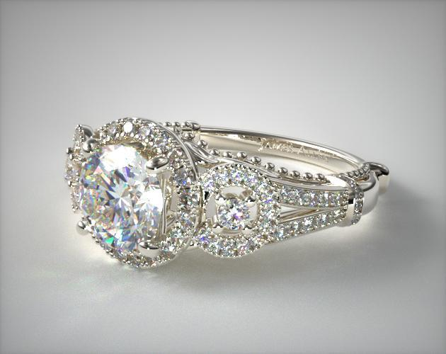 41063 Engagement Rings Vintage 14k White Gold Three Stone Decorative Bridge Ring Item