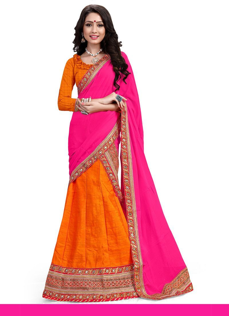 Womenu0027s Pretty A Line Lehenga Style In Deep Orange Color With Crystals  Stones Work Dupatta