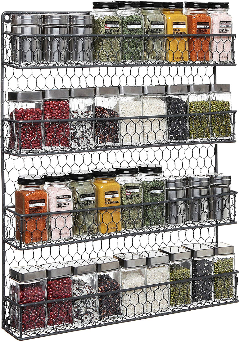 4 Tier Gray Country Rustic Chicken Wire Pantry Cabinet Or Wall Mounted Spice Rack Storage Organ With Images Wall Mounted Spice Rack Spice Rack Storage Diy Kitchen Storage