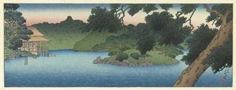 Not dated - Hasui, Kawase - Matsu no ike (The pine pond), from the series Mitsubishi Fukagawa bettei no zu (The villa of the [Iwasaki family the owner of the] Mitsubishi [company], Fukagawa)