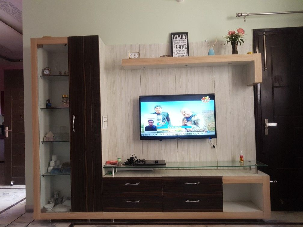 Tv Unit L Shape Glassshelves Ground Clarance Tv Unit Wall Tv