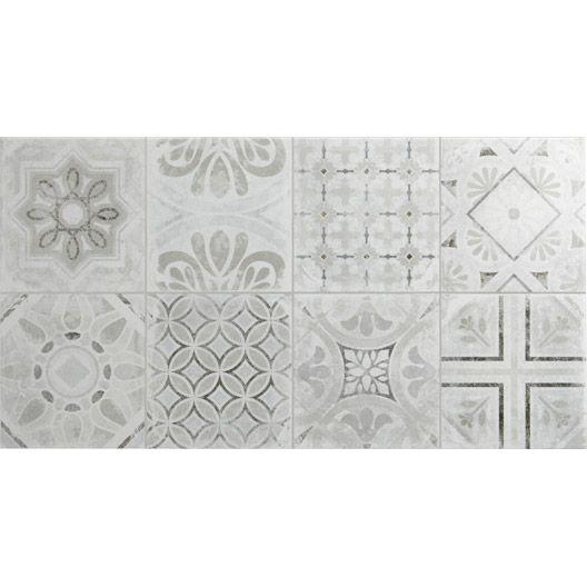 Carrelage mural décor Life ARTENS en faïence, gris, 316 x 5934 - Leroy Merlin Faience Cuisine