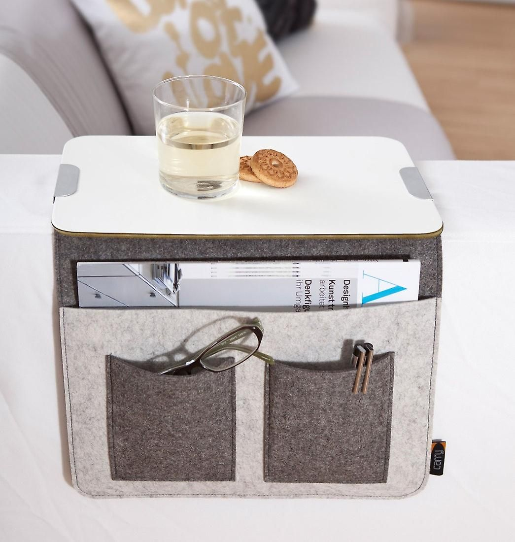 Sofa Tray Sofa Butler Sofa Storage Armrest Organizer Wood Felt Grey Sofa Storage Round Sofa Household Storage Containers