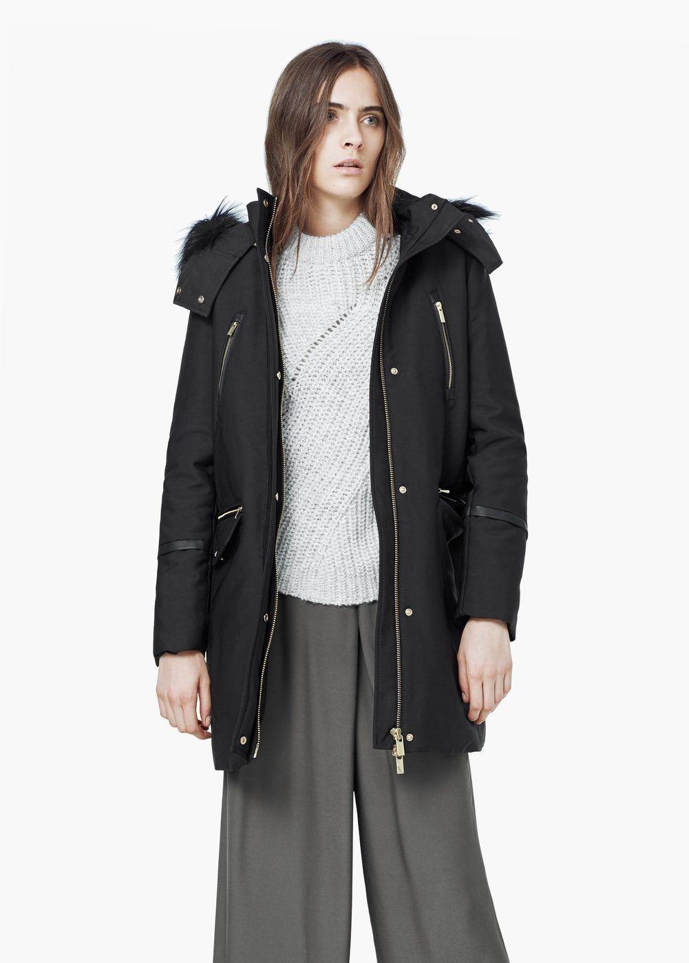 Anorak algodón capucha - Abrigos de Mujer | MANGO
