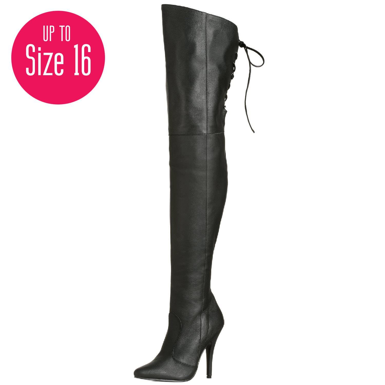 PLEASER LEGEND-8899 Black Leather Thigh High Boots