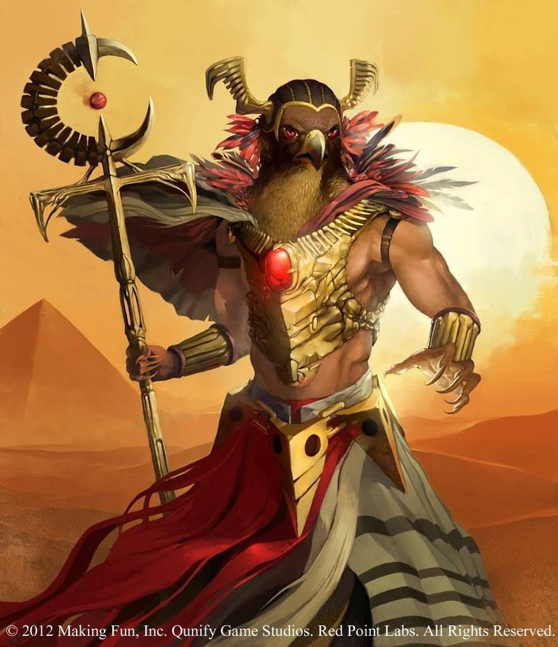 """Ré (Rá)  Ré é um dos nomes do sol (você pode ouvir também com o nome de Ré), um dos principais deuses egípcios. Em Heliópolis (""""a cidade do sol"""" em grego) é ele que, depois de ter decidido existir, cria o mundo e o mantém vivo.  Quando desaparece no oeste, à noite, ele é Atum, velho curvado, esperado no além pelos mortos que se aquecem com seus raios. Pela manhã, renasce no leste com a forma de um escaravelho (Khepri)."""