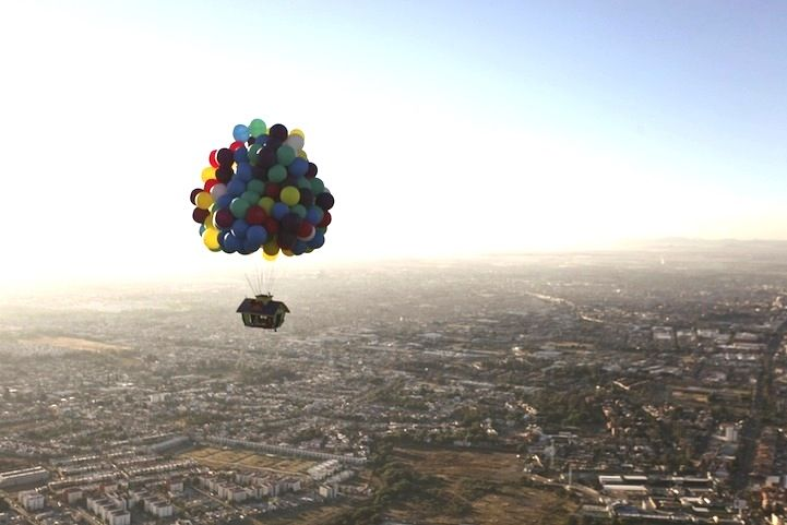 Real-life Up house soars over 20,000 feet in the air. This is a dream come true.