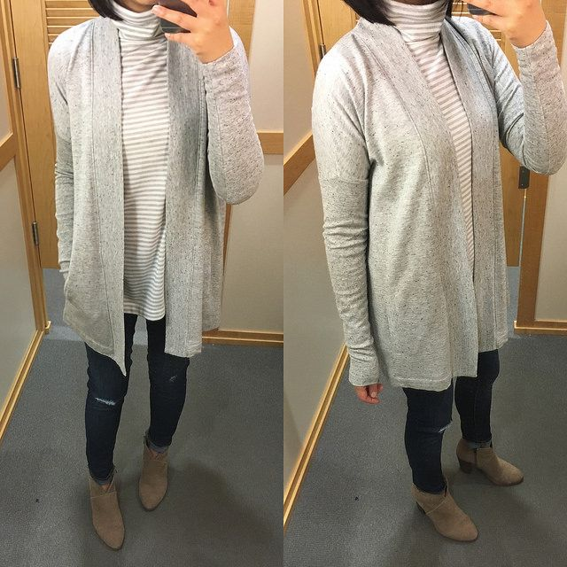 Lou & Grey Signaturesoft Open Cardigan, size XS regular. Review on www.whatjesswore.com.