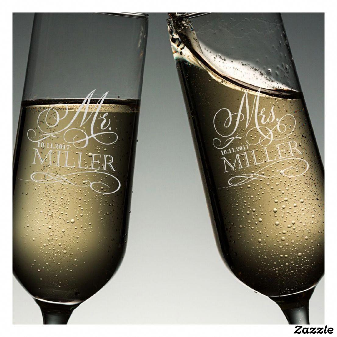 Mr mrs wedding toast champagne flute set