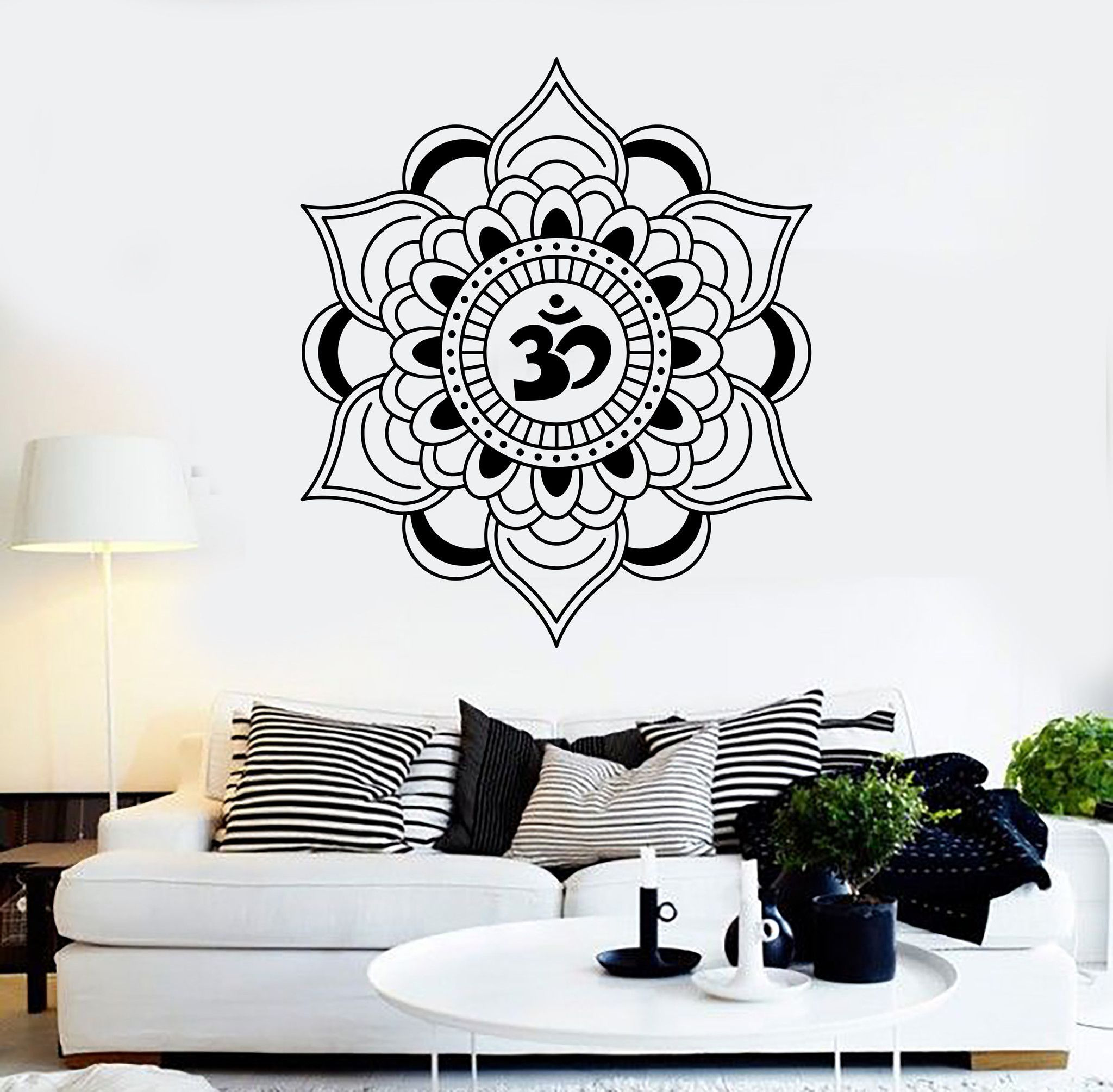 Vinyl Wall Decal Mandala Lotus Talisman Buddhism Hinduism Stickers - Wall stickers decalswall decal wikipedia