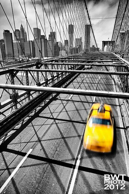Nyc taxi aluminum photo print new york city cityscape brooklyn bridge selective color urban yellow black white