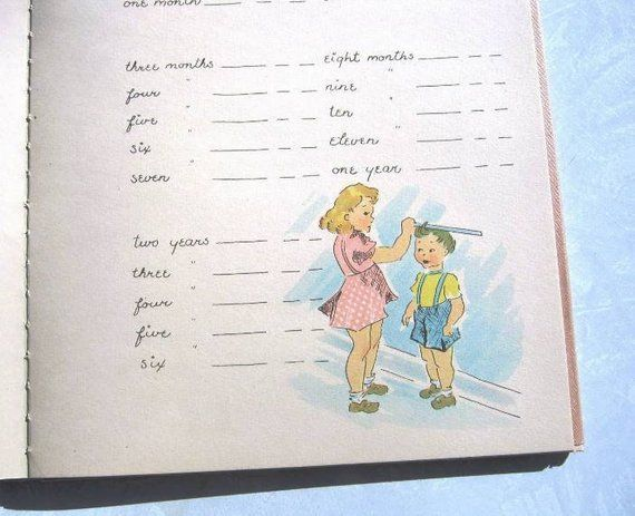 adorable vintage baby memory record book 1940s illustrated blank