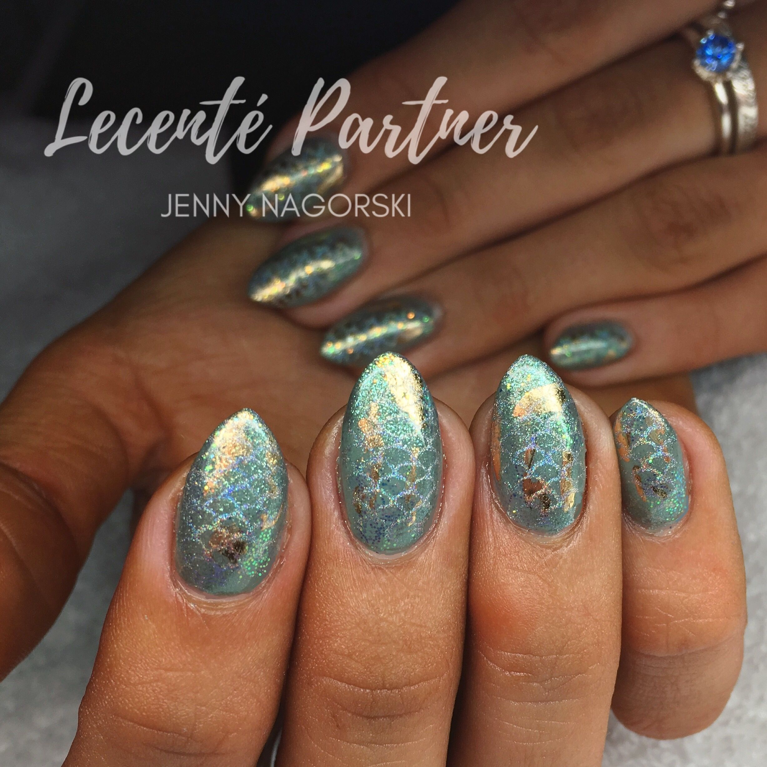 Mermaid Nails using Lecente™ Stardusts, Glitter and Foils over CND ...