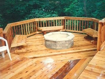 Great Rich Wooden Deck With Inviting Fire Pit!
