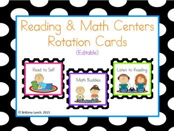 Reading and Math Center Rotation Cards (editable) | Math | Math ...