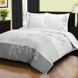 Superior Sydney 3 Piece Cotton Duvet Cover Set Full Queen Grey