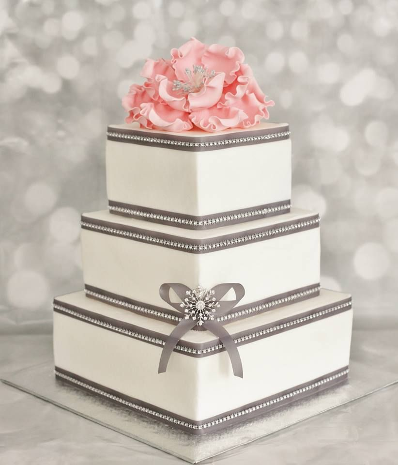 grey wedding cake with pink flowers square white buttercream grey ribbon and bling pink 14985