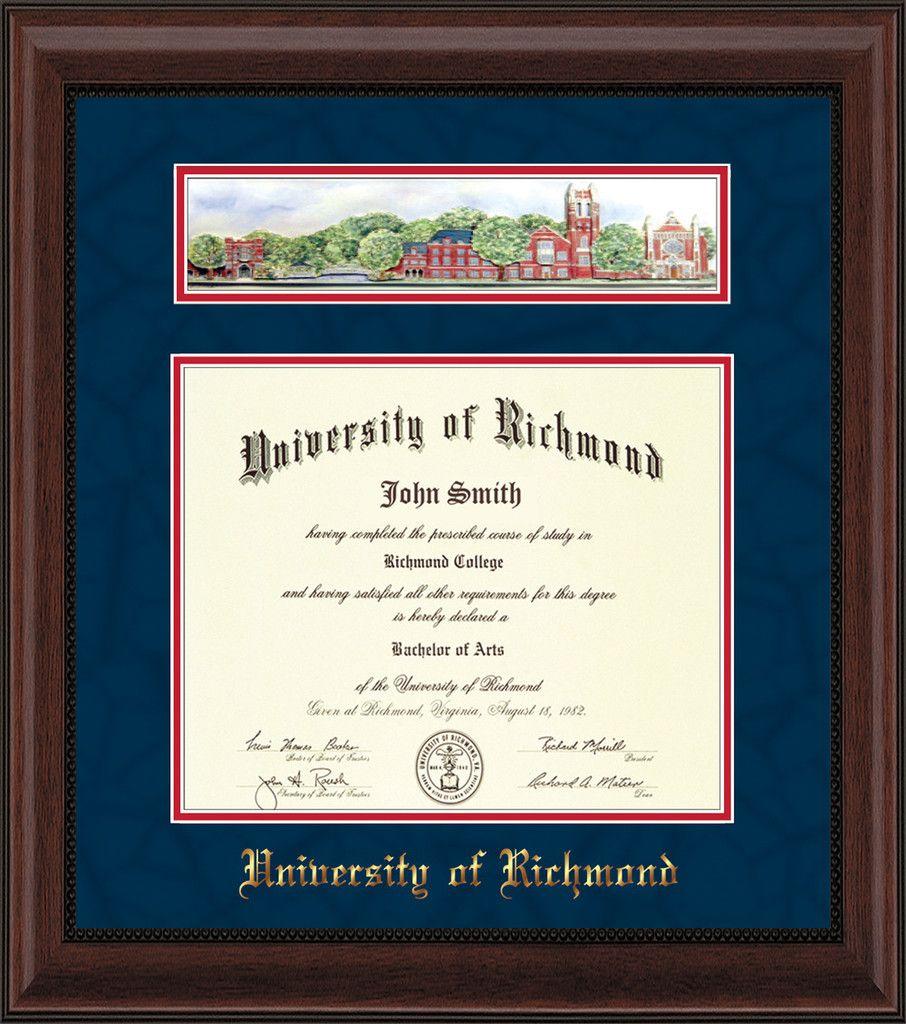 University Of Richmond Diploma Frame Mahogany Bead Collage