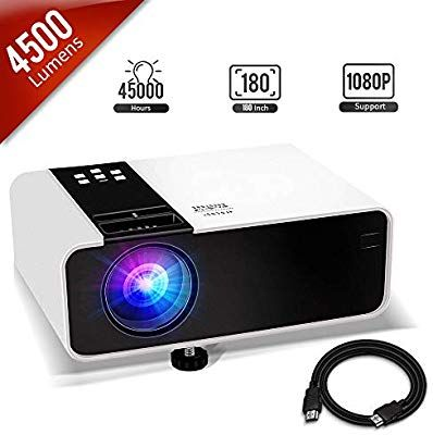 Mini Projector, 1080P HD Supported 4500 Lux