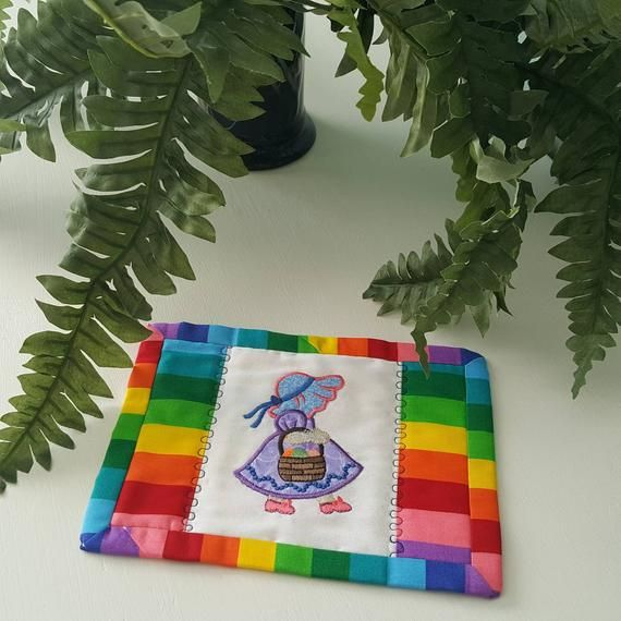 Sun Bonnet Sue Quilted Mug Rug, quilted fabric coaster, beverage ware, rainbow cotton fabric #sunbonnetsue