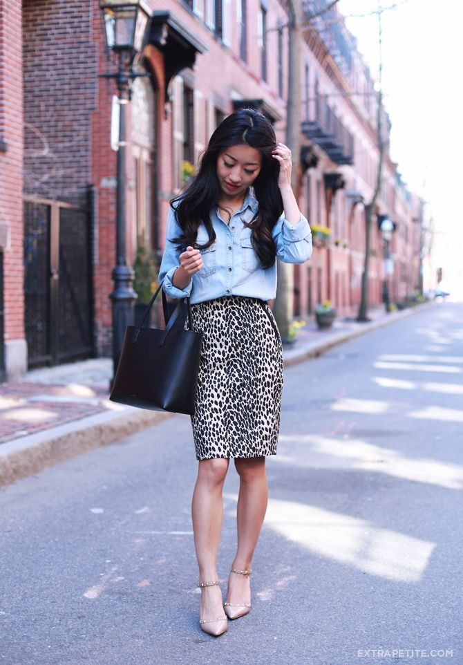 c2d0cff889 Spring office wear  petite chambray shirt + animal print skirt