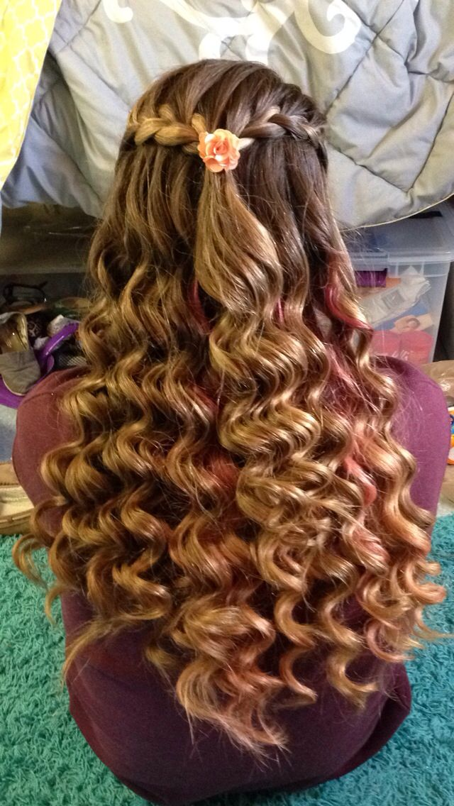 Formal Hair Style Half Up Braided Curly Long Hair Hair Styles Cool Hairstyles Sweet 16 Hairstyles