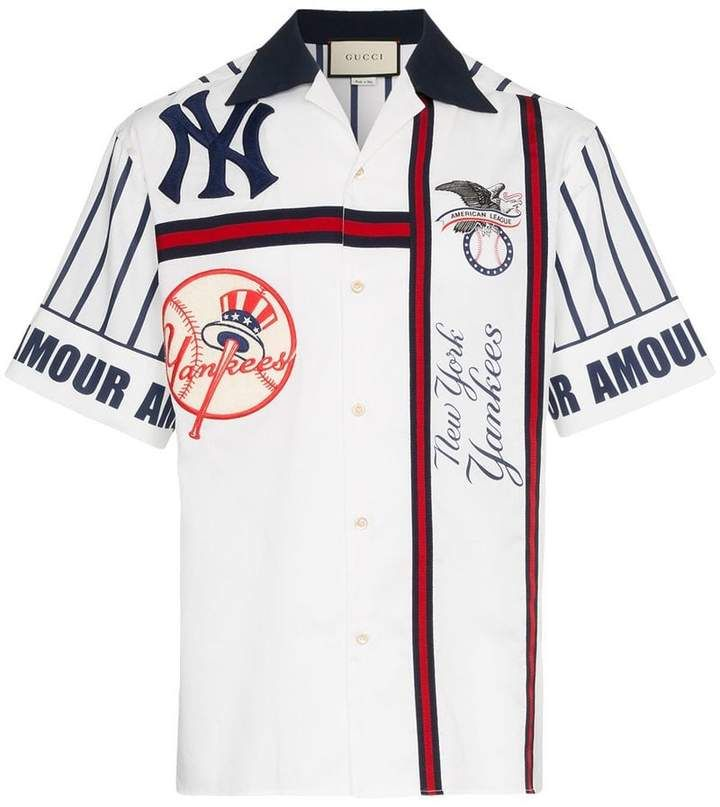 f92997965 Gucci NY Yankees embroidered cotton bowling shirt in 2019 | Products ...