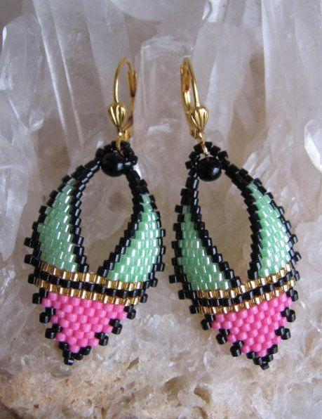 Russian Beading Patterns Free | Beadwork Russian Leaf Earrings Pink/Green by pattimacs on Etsy