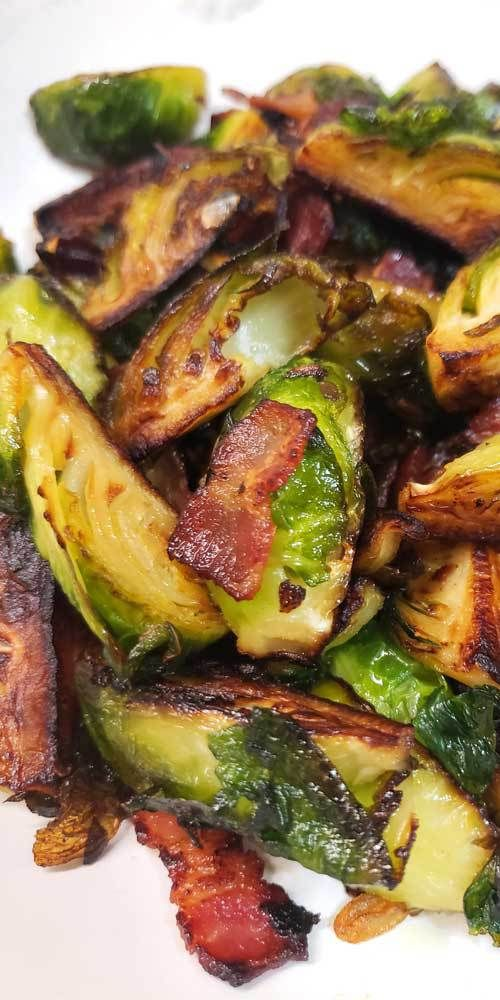 Crispy Skillet Brussel Sprouts with Bacon & Garlic Butter