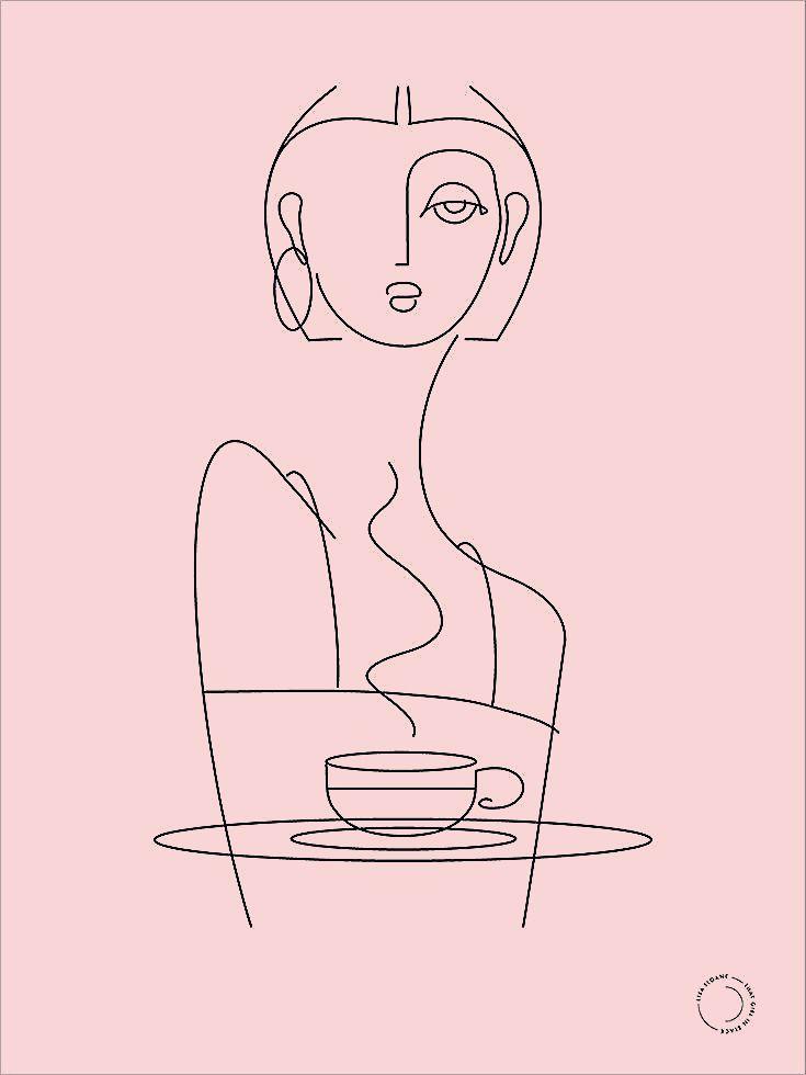that girl in black — café prints -  - #Black #cafe #Girl #Prints