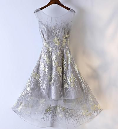 high low grey yellow lace homecoming prom dresses
