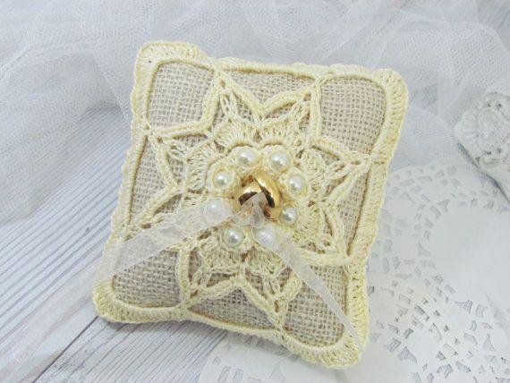 Handmade Ring Bearer Pillow Crocheted Ring Bearer Pillow by sapti ...