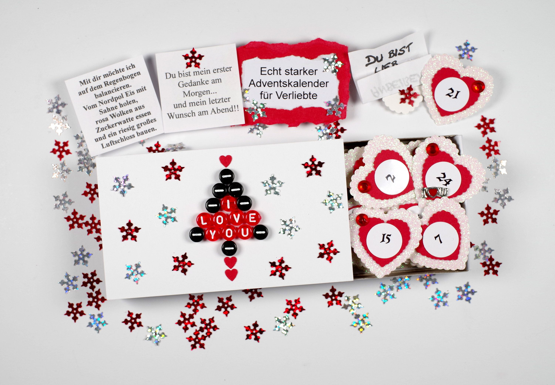 Adventskalender gefüllt mit Sprüche Liebe Pearl letters