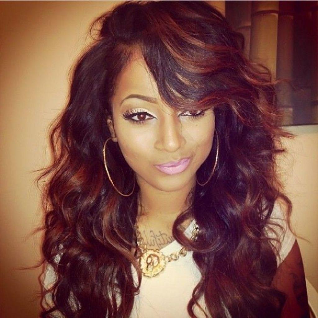 Wavy Weave Hairstyles With Side Bangs Picturesgratisylegal  Hair