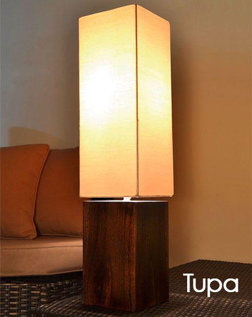 Valor base de madera de teca y pantalla de tela - Estructuras para lamparas ...
