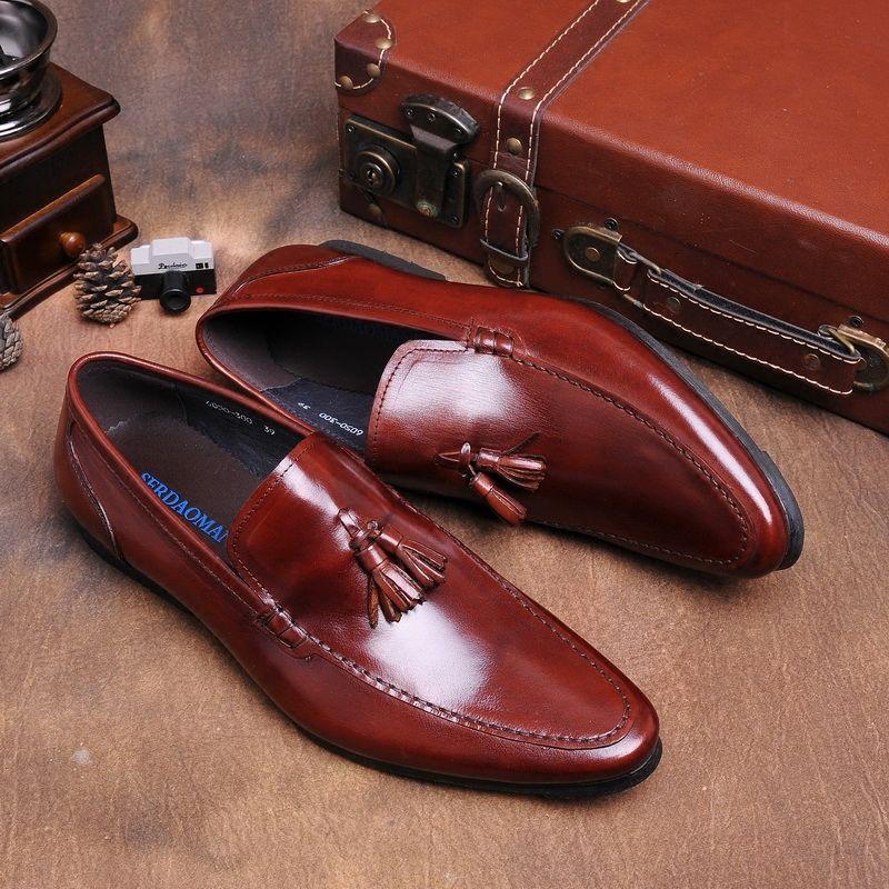 Nueva Llegada de Los Hombres Zapatos de Conducción Negro Marrones Color de Oficina de Negocios Zapatos de Los Hombres de LA UE 38-43 Moda Hombre Mocasines Slip-en Otoño Calzado