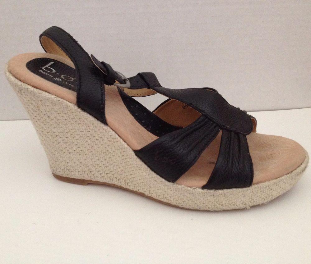 Black sandals size 7 - Boc Born Shoes Womens Size 7 38 Black Wedge Heels Sandals 7m Open Toe