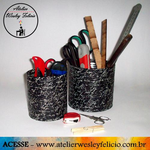 Porta Trecos - Atelier Wesley Felício #PortaTrecos #Latas #Reciclagem #PapelPresente #Decoração #Ateliê #Organização