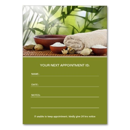 Day Spa, Massage, Aromatherapy Appointment Card | Massage