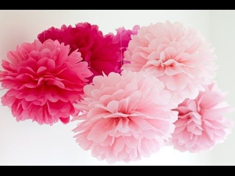 DIY bolinhas/flores de papel de seda ou pompom: 12 folhas ...