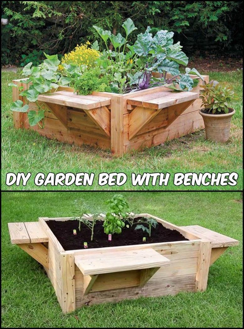 Make gardening comfortable by adding benches to your raised garden