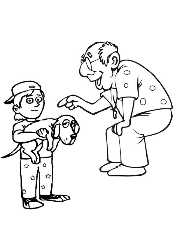 Free Online Grandpa And Grandson Colouring Page