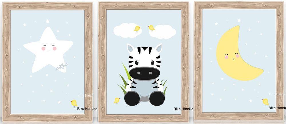 """Bilder Kinder Poster """"3Set A4"""" Kinderzimmer Bilder"""
