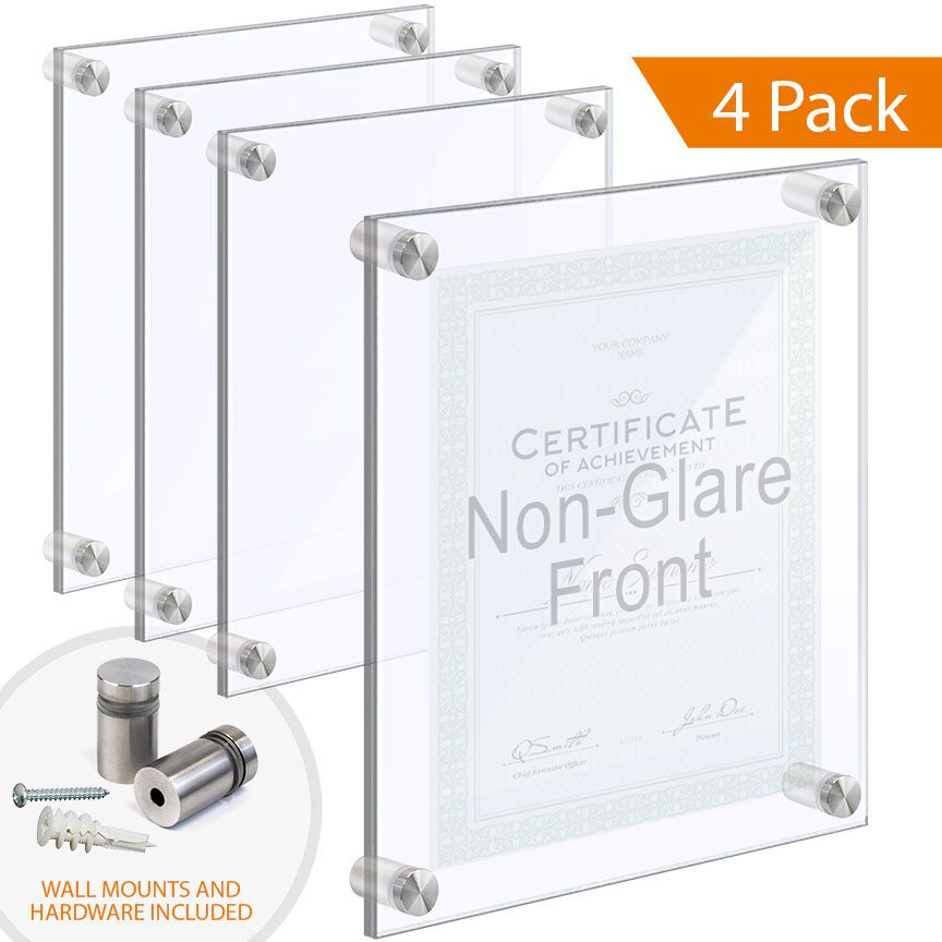 Acrylic Wall Frames With Standoffs Clear Non Glare Acrylic Set Qty 4 In 2020 Floating Acrylic Frame Acrylic Frames Frames On Wall