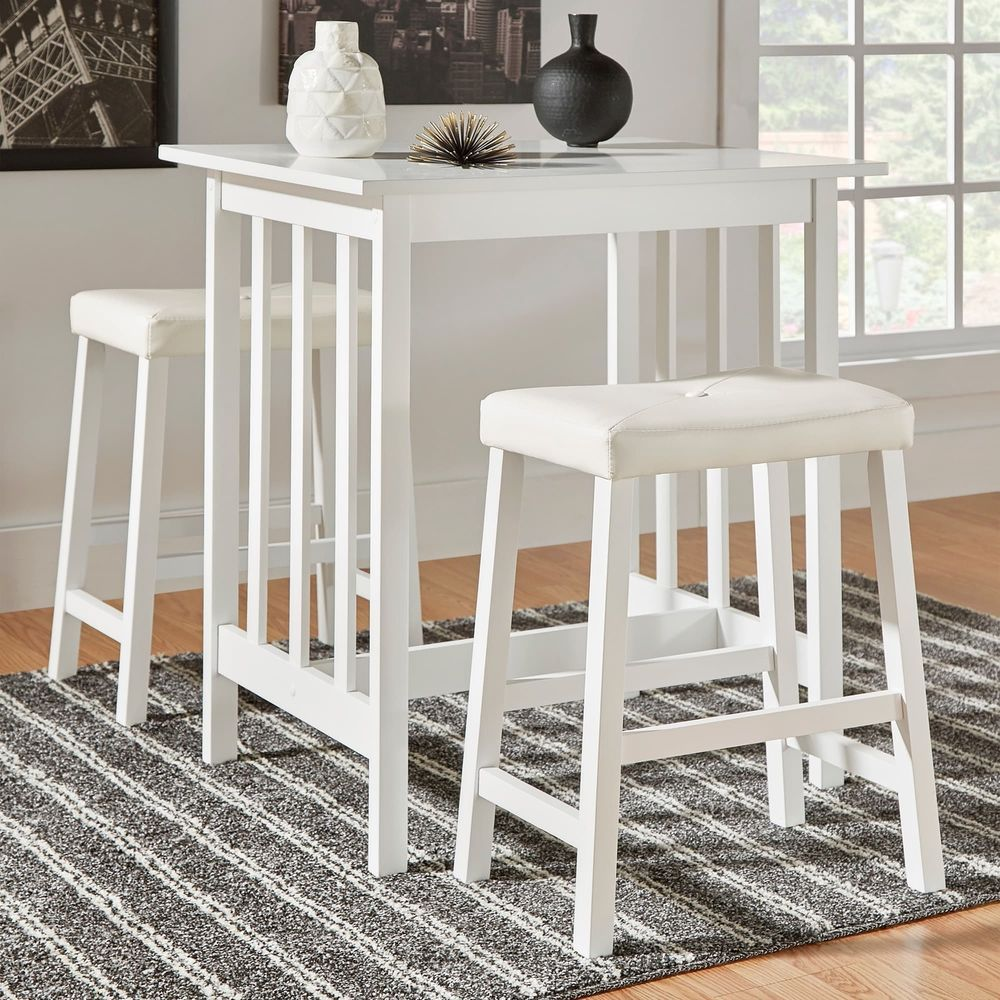 3 Piece Kitchen Table Set White Counter Height Dinette Chair Table Kitchendinettesset Dinette Sets Dinette Chairs Kitchen Table Settings