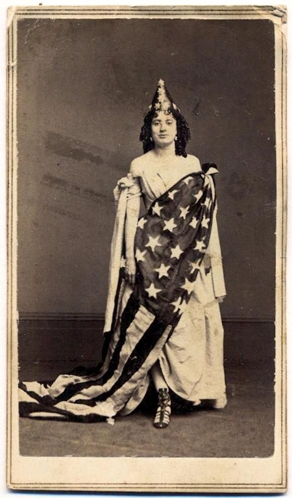 C 1865 PATRIOTIC LADY LIBERTY WRAPPED IN OLD US AMERICAN FLAG Fredericks No12