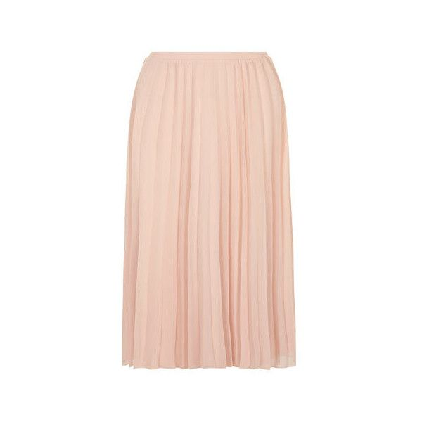 Blush Mesh Pleated Midi Skirt - New In Clothing - New In - Dorothy... (505 MXN) ❤ liked on Polyvore featuring skirts, midi skirt, calf length skirts, mid-calf skirt, knee length pleated skirt and mesh midi skirt