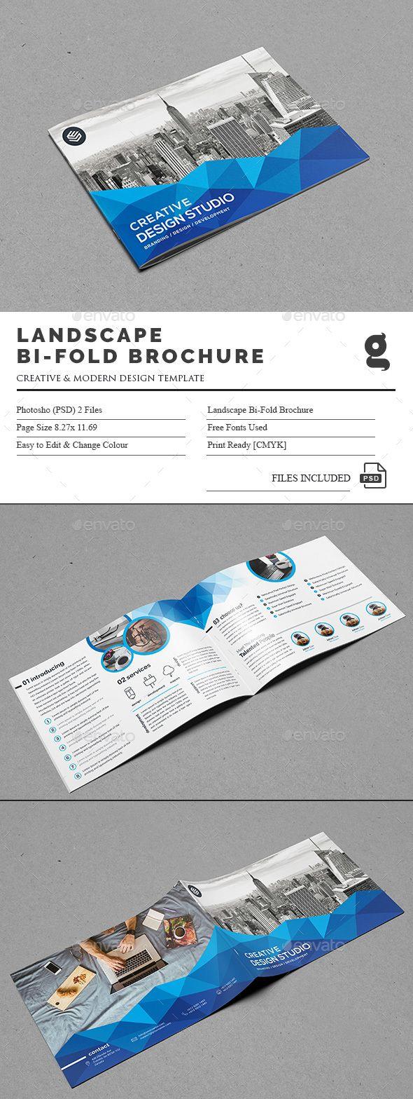 Landscape Bi Fold Brochure Template Psd Brochure Templates